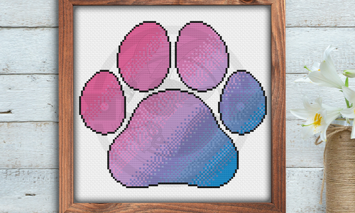 [CROSS STITCH PATTERN] Bi Pride Paw Print