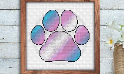 [CROSS STITCH PATTERN] Trans Pride Paw Print