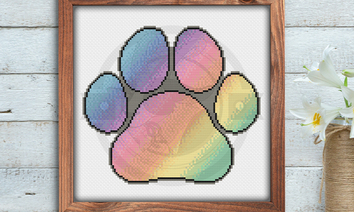 [CROSS STITCH PATTERN] Pastel Rainbow Paw Print