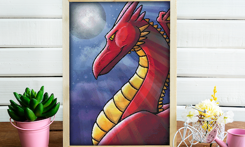 [CROSS STITCH PATTERN] Red Dragon