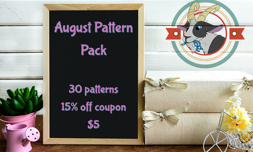 August 2020 Member Pack | 30 SFW patterns | 1 Lineart Pack | 1 Coupon